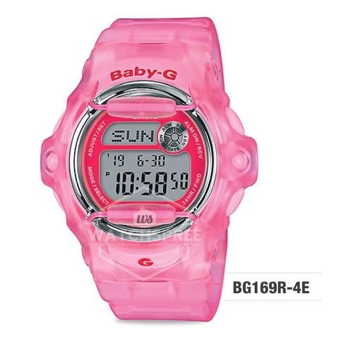 Casio Baby-G Neo Retro Colors BG-169 Series Pink Semi-transparent Resin Band Watch BG169R-4E BG-169R-4E