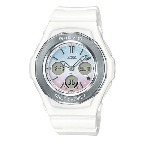 Casio Baby-G BGA-100ST Pastel Starry Sky Series White Resin Band Watch BGA100ST-7A