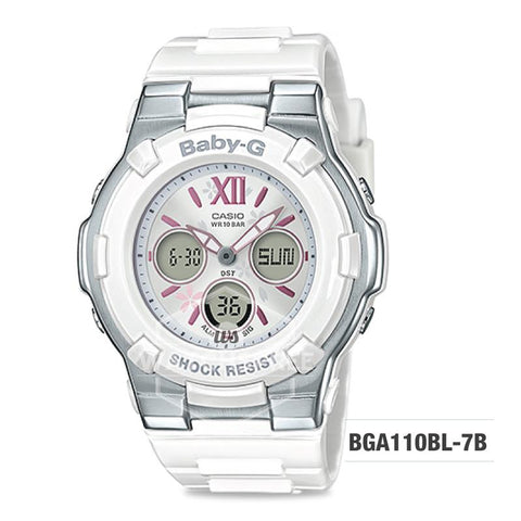 Casio Baby-G Pastel Color Series White Resin Band Watch BGA110BL-7B BGA-110BL-7B