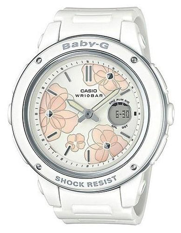 Casio Baby-G Popular Wide Face White Resin Band Watch BGA150FL-7A BGA-150FL-7A