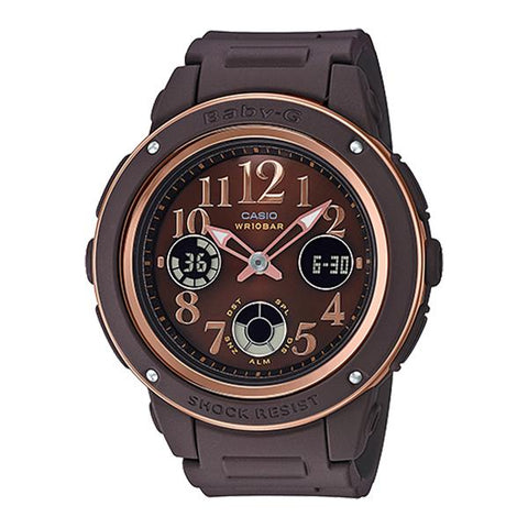 Casio Baby-G Popular Wide Face Brown Resin Strap Watch BGA150PG-5B2 BGA-150PG-5B2