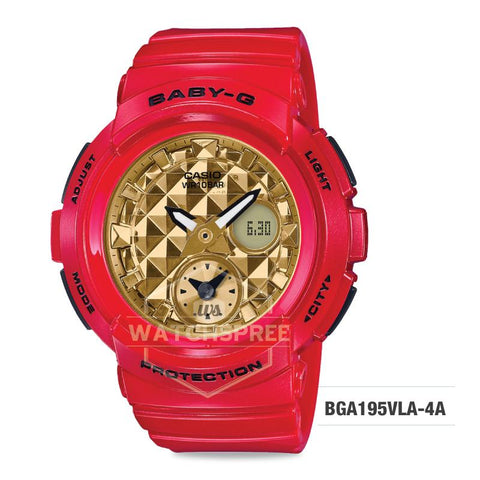 Casio Baby-G Red x Gold Series Red Resin Band Watch BGA195VLA-4A