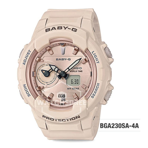 Casio Baby-G Standard Analog Digital Pink Beige Resin Band Watch BGA230SA-4A BGA-230SA-4A