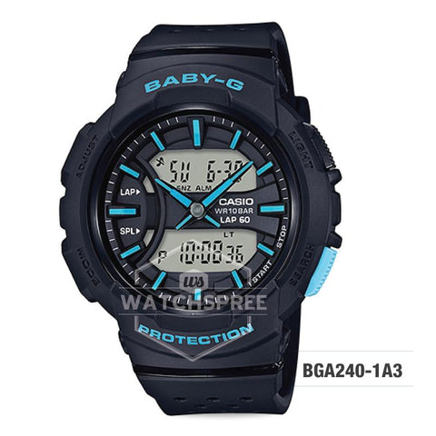 Casio Baby-G For Running Series Neon Color Models Black Resin Band Watch BGA240-1A3
