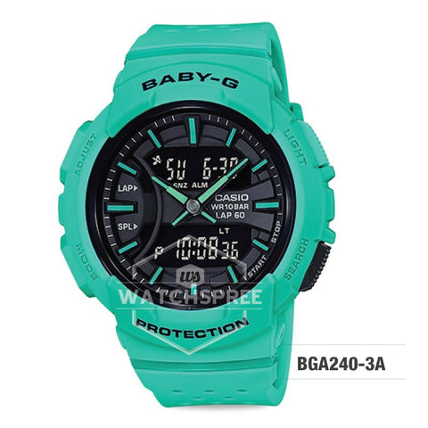 Casio Baby-G For Running Series Neon Color Models Green Resin Band Watch BGA240-3A