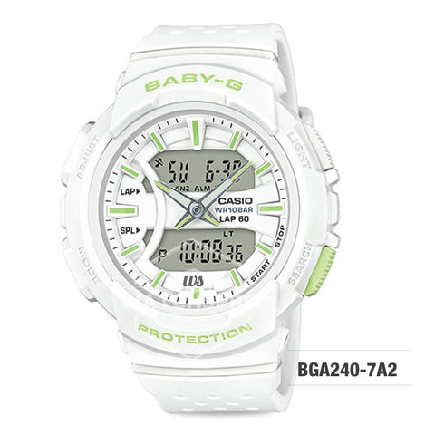 Casio Baby-G For Running Series Neon Color Models White Resin Band Watch BGA240-7A2