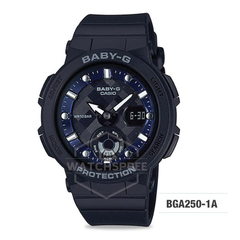 Casio Baby-G Beach Traveler Series Black Resin Band Watch BGA250-1A BGA-250-1A