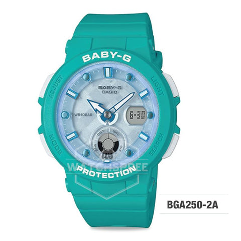 Casio Baby-G Beach Traveler Series Blue Green Resin Band Watch BGA250-2A BGA-250-2A