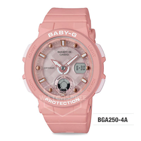 Casio Baby-G Beach Traveler Series Pastel Pink Resin Band Watch BGA250-4A BGA-250-4A