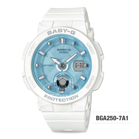 Casio Baby-G Beach Traveler Series White Resin Band Watch BGA250-7A1 BGA-250-7A1