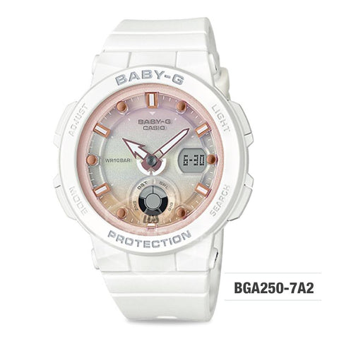 Casio Baby-G Beach Traveler Series White Resin Band Watch BGA250-7A2 BGA-250-7A2