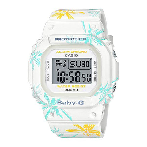 Casio Baby-G Summer Flower Pattern White Resin Band Watch BGD560CF-7D BGD-560CF-7D