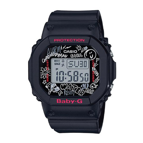 Casio Baby-G POPULAR SQUARE FACE Black Resin Band Watch BGD560SK-1D BGD-560SK-1D BGD-560SK-1