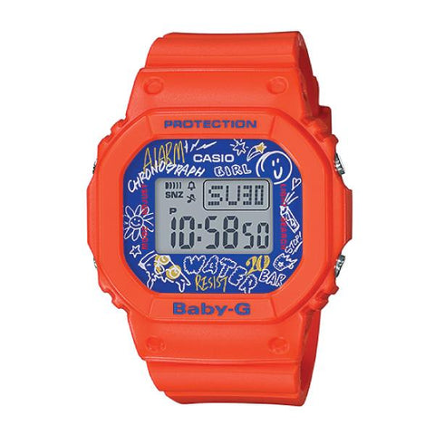 Casio Baby-G POPULAR SQUARE FACE Orange Resin Band Watch BGD560SK-4D BGD-560SK-4D BGD-560SK-4