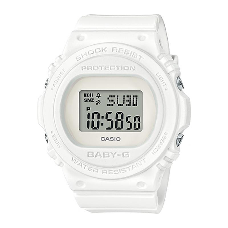 Casio Baby-G Standard Digital New Round Face White Resin Band Watch BGD570-7D BGD-570-7D BGD-570-7