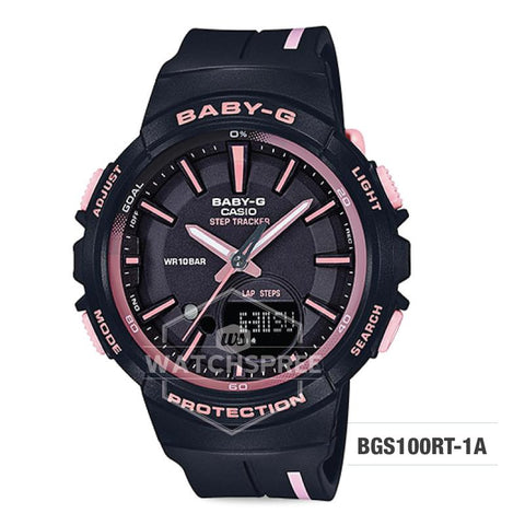 Casio Baby-G PUNTO IT DESIGN BGS-100 Step Tracker For Running Series Black Resin Band Watch BGS100RT-1A
