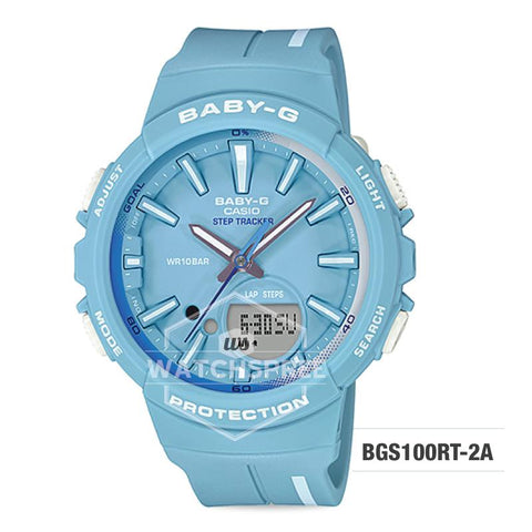 Casio Baby-G PUNTO IT DESIGN BGS-100 Step Tracker For Running Series Pastel Blue Resin Band Watch BGS100RT-2A