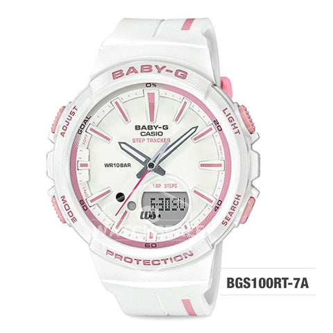 Casio Baby-G PUNTO IT DESIGN BGS-100 Step Tracker For Running Series White Resin Band Watch BGS100RT-7A