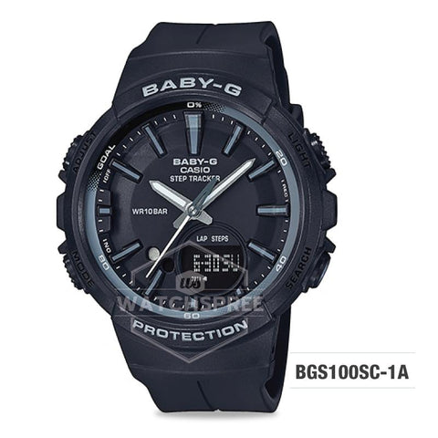 Casio Baby-G For Running Series Step Tracker Black Resin Band Watch BGS100SC-1A BGS-100SC-1A
