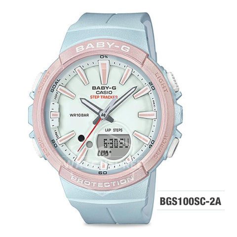 Casio Baby-G For Running Series Step Tracker Light Blue Resin Band Watch BGS100SC-2A BGS-100SC-2A
