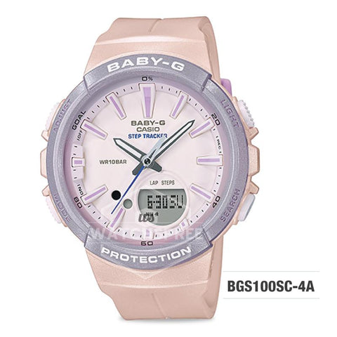 Casio Baby-G For Running Series Step Tracker Pink Pastel Resin Band Watch BGS100SC-4A BGS-100SC-4A