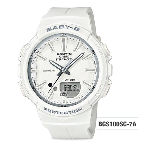 Casio Baby-G For Running Series Step Tracker White Resin Band Watch BGS100SC-7A BGS-100SC-7A