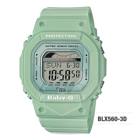 Casio Baby-G Glide Sport Lineup Light Green Resin Band Watch BLX560-3D BLX-560-3D