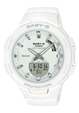 Casio Baby-G G-SQUAD Bluetooth® White Matte Resin Band Watch BSAB100-7A BSA-B100-7A