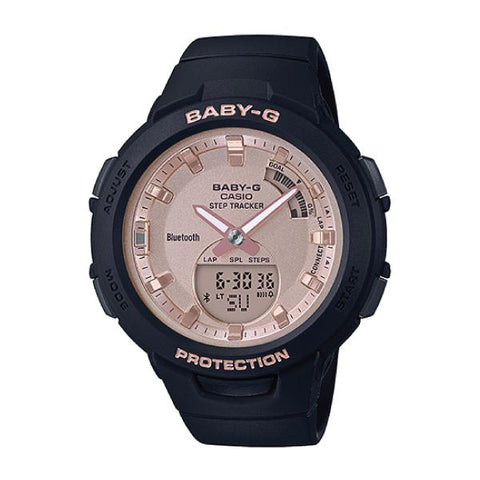 Casio Baby-G G-Squad Pink Gold Face Bluetooth®  Black Resin Band Watch BSAB100MF-1A BSA-B100MF-1A