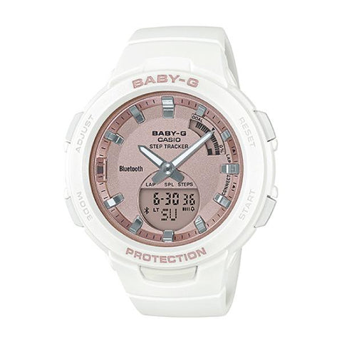 Casio Baby-G G-Squad Pink Gold Face Bluetooth®  White Resin Band Watch BSAB100MF-7A BSA-B100MF-7A