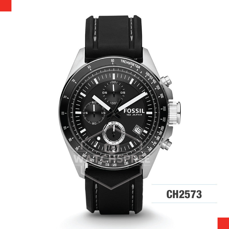 Fossil Men Decker Chronograph Black Silicone Watch CH2573