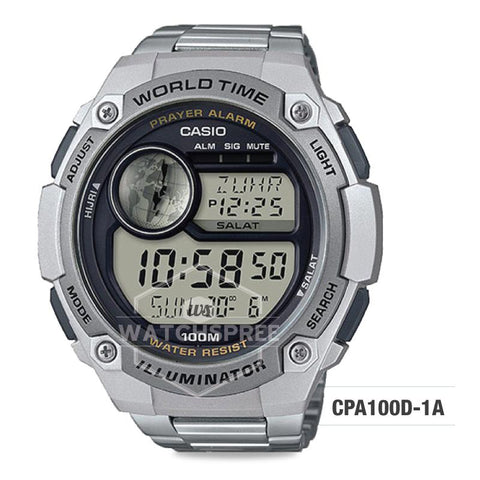 Casio Digital Prayer Alarm Stainless Steel Band Watch CPA100D-1A