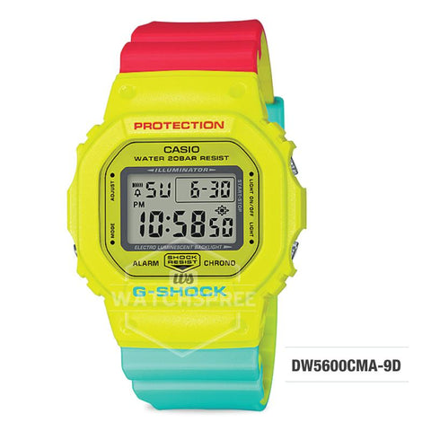 Casio G-Shock Breezy Rasta Color Multicolor Resin Band Watch DW5600CMA-9D DW5-600CMA-9D