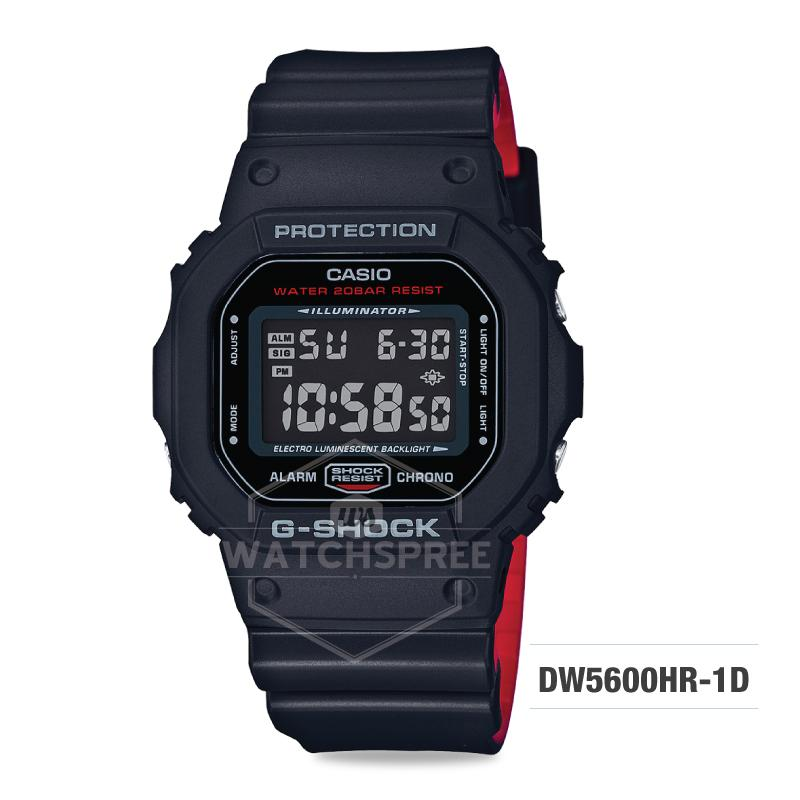 926ff4dd3faef Casio G-Shock Black x Red Heritage Color Series Black and Red Resin Band Watch  DW5600HR-1D DW-5600HR-1D