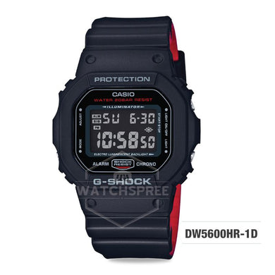 Casio G-Shock Black x Red Heritage Color Series Black and Red Resin Band Watch DW5600HR-1D DW-5600HR-1D