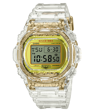 Casio G-Shock 35th Anniversary Glacier Gold Series Clear Semi-Transparent Resin Band Watch DW5735E-7D DW-5735E-7D DW-5735E-7