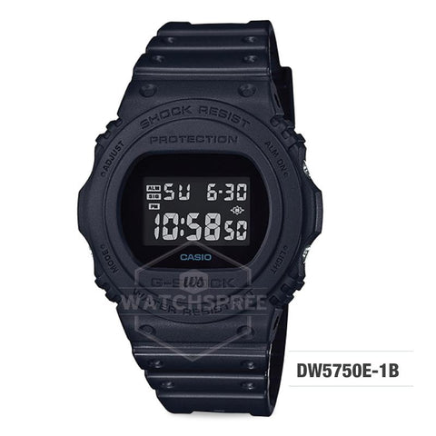Casio G-Shock Back-to-original-basics theme Black Resin Band Watch DW5750E-1B DW-5750E-1B