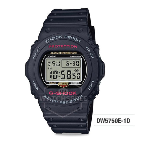 Casio G-Shock Back-to-original-basics theme Black Resin Band Watch DW5750E-1D DW-5750E-1D