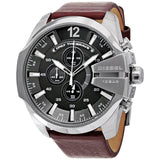 Diesel Mega Chief Chronograph Grey Dial Brown Leather 59 mm x 51 mm Men's Watch DZ4290 [Pre-order]