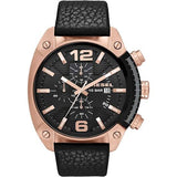 Diesel Overflow Chronograph Black Dial Black Leather 54 mm x 49 mm Men's Watch DZ4297 [Pre-order]