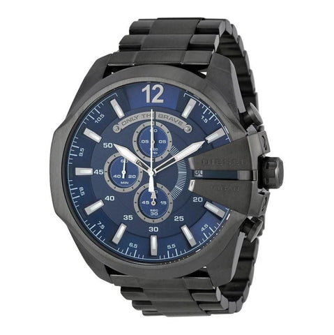 Diesel Mega Chief Chronograph Blue Dial Gunmetal Ion-plated 59 mm x 51 mm Men's Watch DZ4329