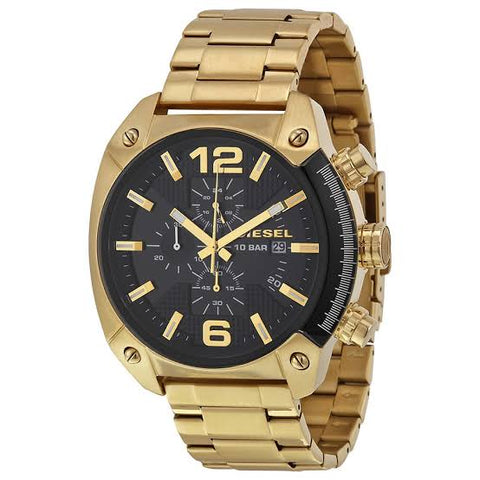 Diesel Overflow Black Dial Gold Stainless Steel 49 mm Men's Quartz Watch DZ4342