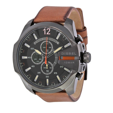 Diesel Mega Chief Black Dial Brown Leather 59 mm x 51 mm Men's Quartz Watch DZ4343