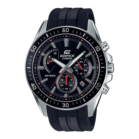 Casio Edifice Chronograph Black Resin Band Watch EFR552P-1A EFR-552P-1A
