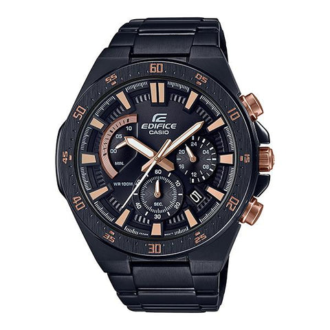 Casio Edifice Standard Chronograph Black Ion Plated Stainless Steel Band Watch EFR563DC-1A EFR-563DC-1A