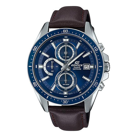 Casio Edifice Standard Chronograph Dark Brown Leather Strap Watch EFRS565L-2A EFR-S565L-2A