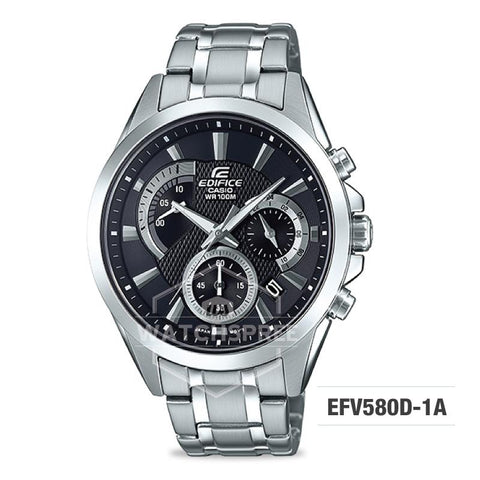 Casio Edifice Standard Chronograph Silver Stainless Band Watch EFV580D-1A EFV-580D-1A
