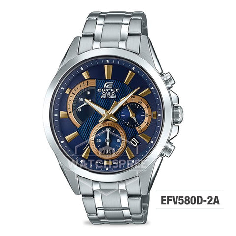 Casio Edifice Standard Chronograph Silver Stainless Band Watch EFV580D-2A EFV-580D-2A