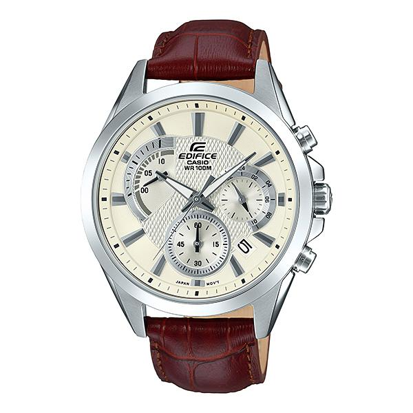 Casio Edifice Standard Chronograph Brown Leather Strap Watch EFV580L-7A EFV-580L-7A
