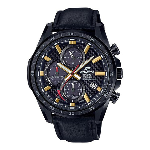 Casio Edifice Solar Powered Chronograph Black Leather Strap Watch EQS900CL-1A EQS-900CL-1A